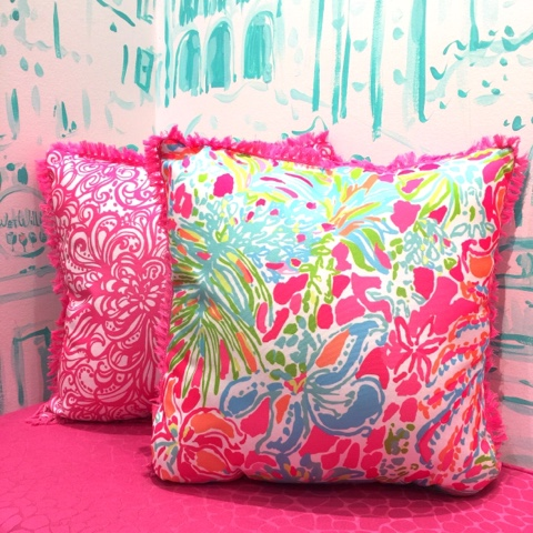 i just had to share how adorable lilly new pillows are for spring i love them all they are the perfect material for either indoor or outdoor