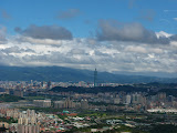 Taipei's southeastern suburbs with Taipei 101 in the background