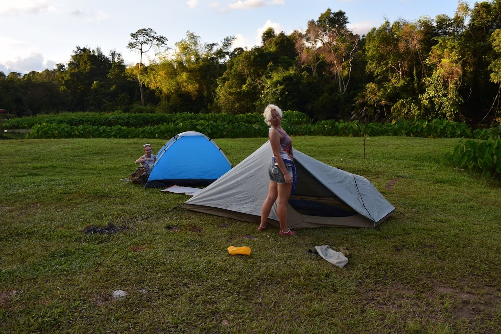 Soon, we pile back into the car and the ladies take us to the nearby Lum Ta Khong campsite... the place has a lot of campers around, but we find a spectacular spot right beside the river and set up our tents.  Feeling great!