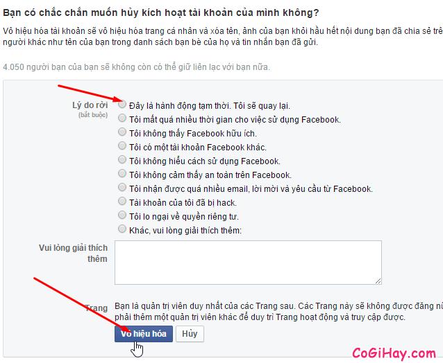 Bước 3: Xác nhận lại xem có muốn tạm ngừng Facebook hay không