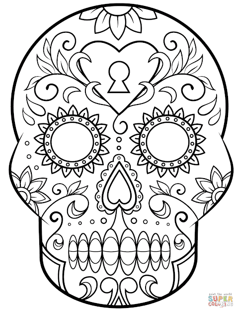 Click The Day Of The Dead Sugar Skull Coloring Pages