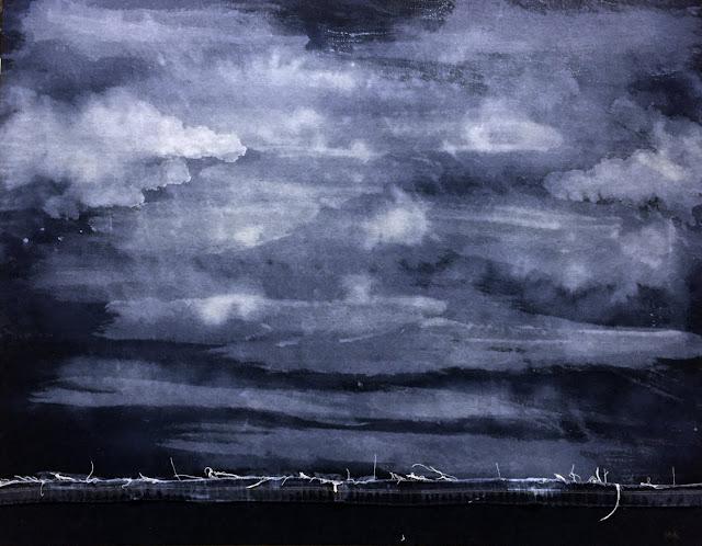 BLUE PRAIRIE #2 39X30 - Bleach on denim. Artist Manny Martins-Karman