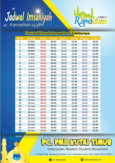 Jadwal Imsakiyah Ramadhan 1438 H / 2017 M untuk wilayah Kab. Kutai Timur