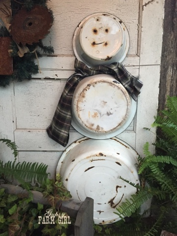 Rustic, Vintage Snow man made from old dish pans
