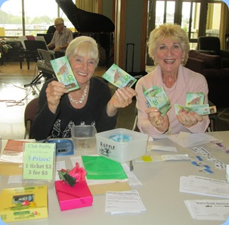 Club Secretary, Delyse Whorwood, and Committee member, Margaret Black, happily manning the Club Desk to issue raffle tickets and Club information. Photo courtesy of Diane Lyons.