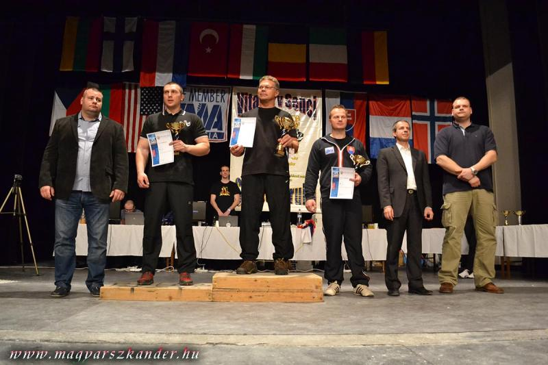 Stoyan Golemanov (2nd) - John Brzenk (1st) - Radoslav Dobrovič (3rd) - Men's Seniors Right Hand 95 Kg, 20th Senec Hand 2013