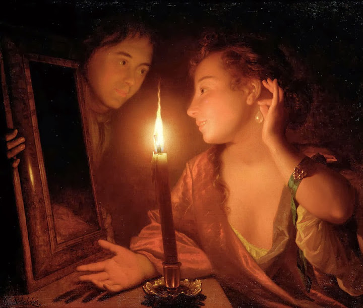 Godfried Schalcken - A Lady Admiring An Earring by Candlelight