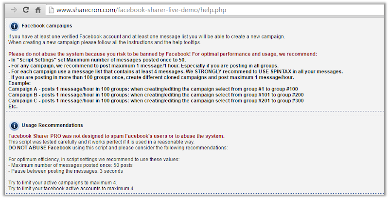 Help page of Facebook Sharer PRO emphasizing the risks in red color