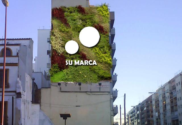 Jardín vertical publicitario Barcelona.