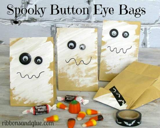 Dulceros de halloween con bolsas de papel