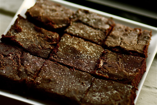 Sweet and Salty Brownies via The Baker Chick
