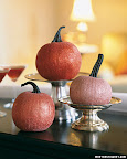 These are real pumpkins- made glam with a coat of glitter.