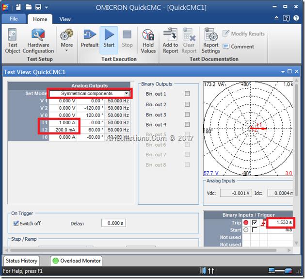 Injeksi Omicron 46BC Menggunakan QuickCMC mode Symetrical component lalu isi I1 dan I2