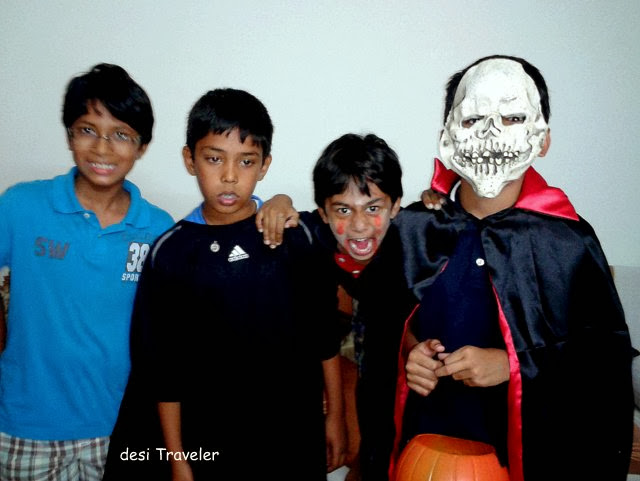 Boys with zombie mask Halloween
