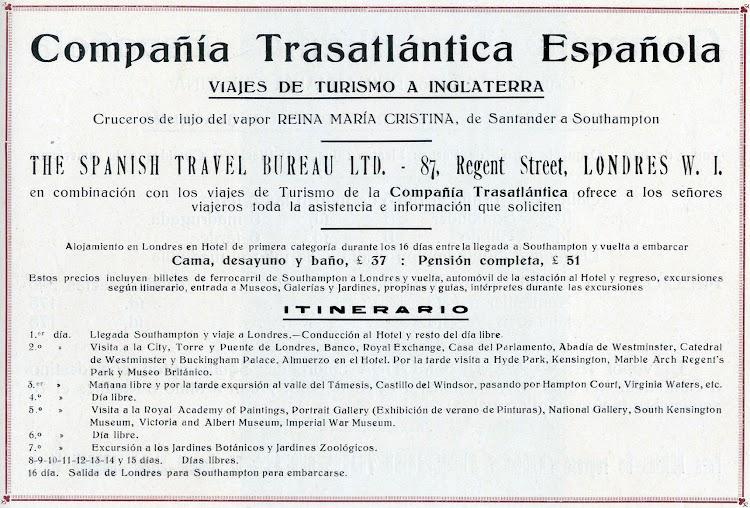 Anuncio del crucero a Inglaterra. Libro de Información 1927. CTE.jpg