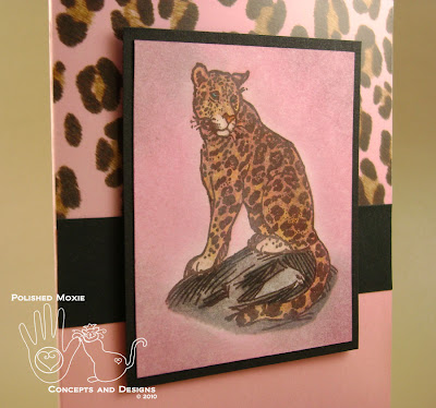 Close up of image on pink leopard card set at an angle