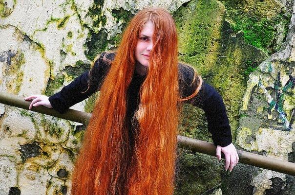 Elegant long hair model fashion