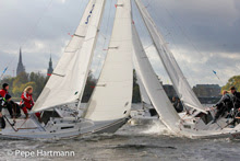 J/22s team racing on Alster Lake- Hamburg, Germany