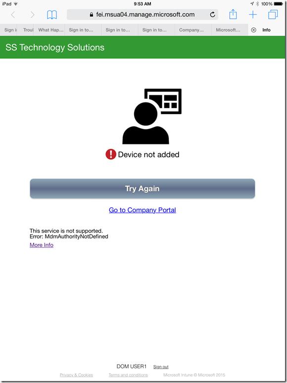 Microsoft Intune and Device Registration Error ~ Santhosh