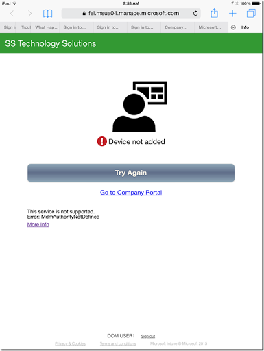 microsoft intune and device registration error active directory