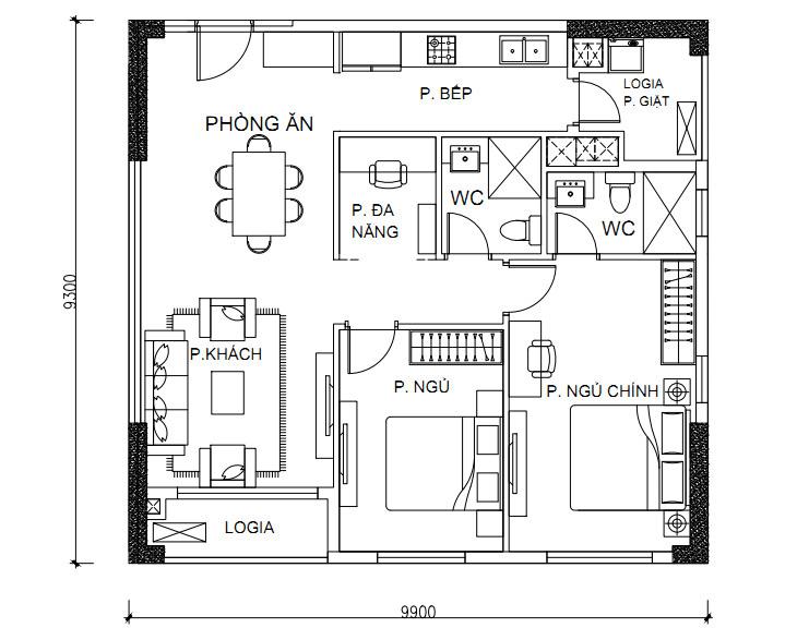 Thông số chi tiết căn hộ 2 phòng ngủ DT: 83.09m2