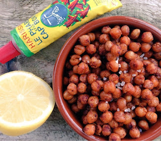 roasted chickpeas, vegan, vegetarian, gluten free, appetizers, snacks, festive food, harissa, lemon, marmite, Guardian Food, party food, nibbles, healthy snacks,