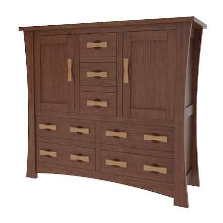 Zen Wardrobe Dresser, Modern Cherry