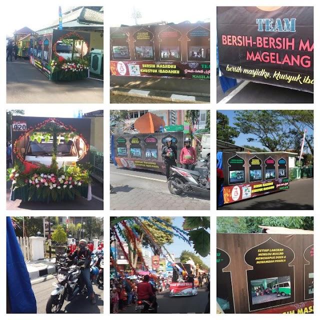 Kontingen Tim Bersih-bersih Masjid Magelang-BBM dalam Karnaval Pembangunan dalam rangka memperingati HUT RI ke-73 Kota Magelang