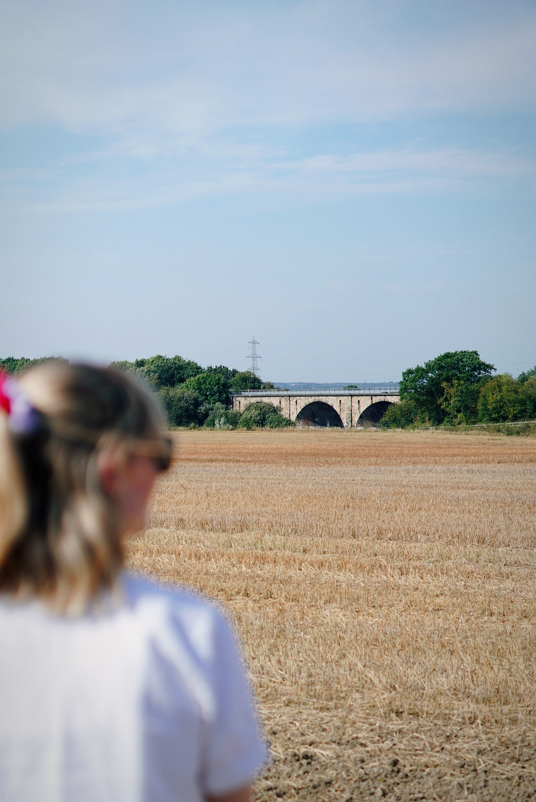Amy is standing looking out into a wheat field, she is blurry and the field is in focus. In the distance is a bridge.