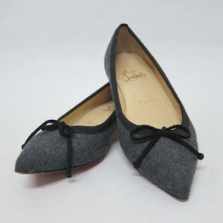 Christian Louboutin Wool Pointed Toe Ballet Flats