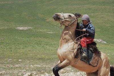 Sehr junger Reiter am Moldo Pass