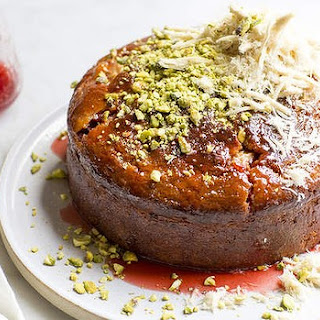 Banana, Rhubarb And Yoghurt Cake With Pistachios And Halva.