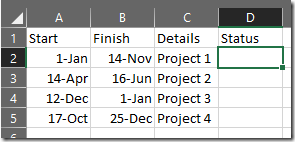 Spreadsheet with extra Status column added