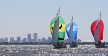 J/30 one-design cruiser racer sailboats off New Orleans, LA