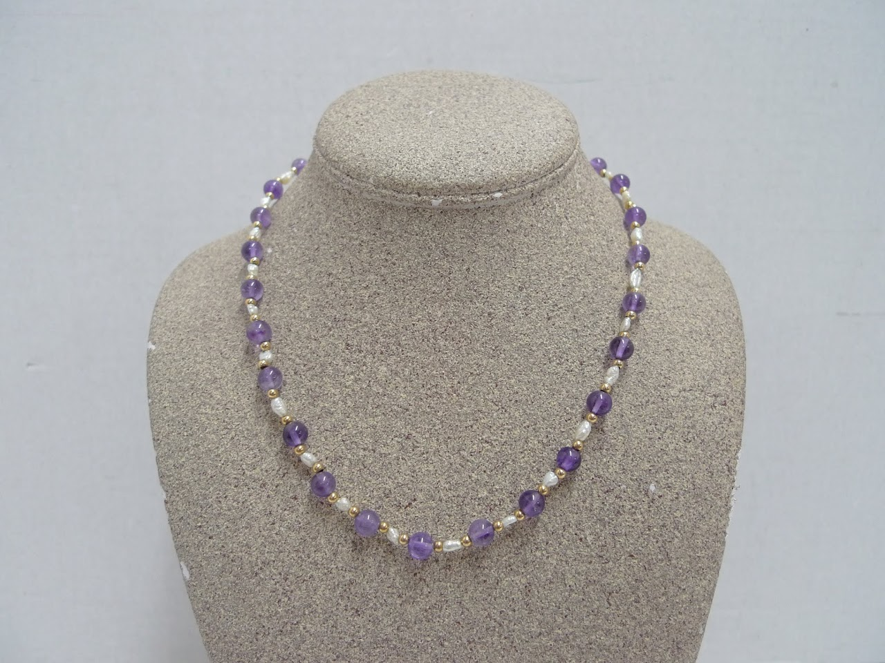 14K Gold, Pearl, and Amethyst Necklace