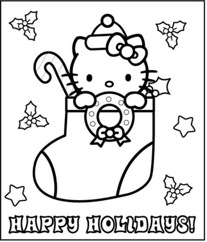 Coloring Pictures Of Hello Kitty At Christmas : 為孩子們的著色頁 hello kitty christmas boot free coloring pages