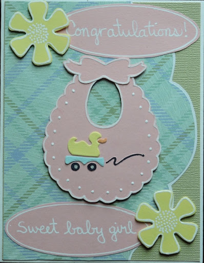Baby shower card for a girl