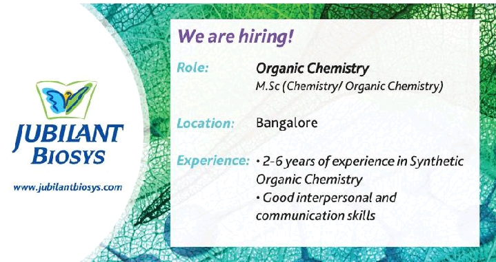 Walk-In Drive at Jubilant Biosys for M.Sc (Chemistry / Organic Chemistry) on 11th Jan' 2020