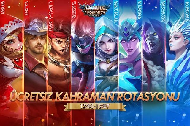 Mobile Legends 1 - 7 Aralık Ücretsiz Kahraman Rotasyonu