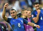 Dimitri Payet a 2016-os franciaországi labdarúgó Európa-bajnokság Franciaország-Románia mérkőzése végén 2016. június 10-én. A házigazda franciák 2-1-re nyertek. (MTI Fotó: Illyés Tibor)
