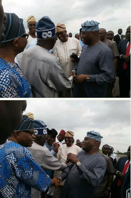 Ekiti Election: See What Happened When Atiku Abubakar Met Tinubu At Airport ( Photos )