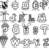 Alphabet colouring page