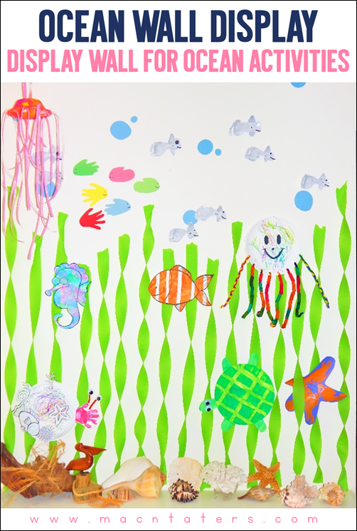 Ocean Art Wall Display...Make learning about the oceans fun for your little one by displaying their artwork on this fun under the sea ocean wall.