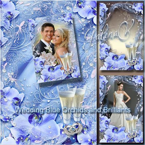 Романтическая фоторамка - Свадебные синие орхидеи и бриллианты