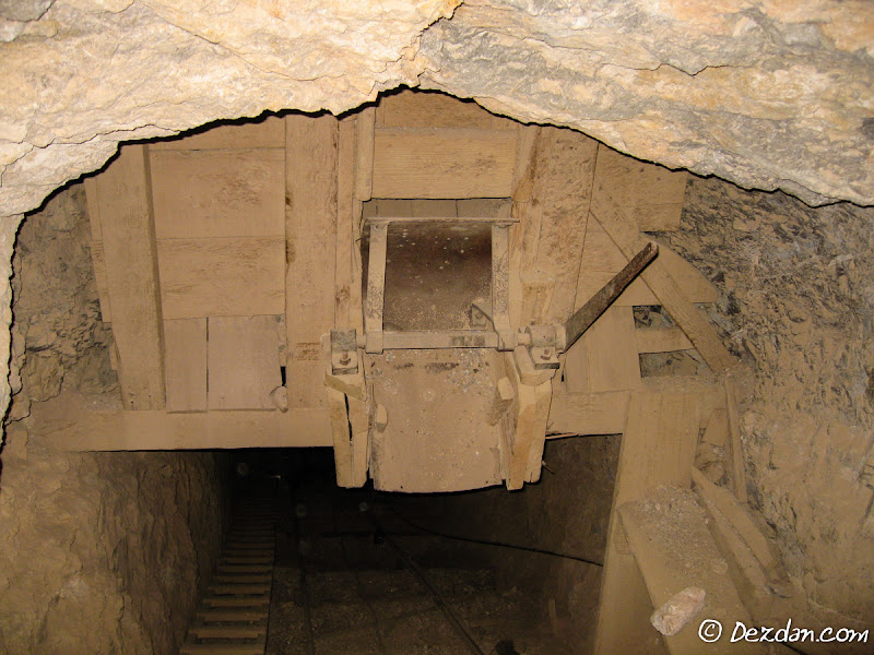 A closer view of the overhead ore chute.