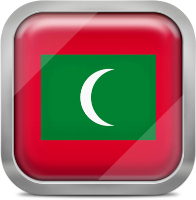 Maldives square flag with metallic frame