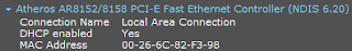 Info ethernet adapter