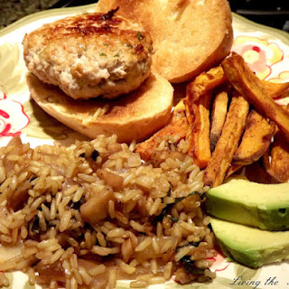 Pork Burgers with Gingered Rice and Sweet Potato Fries