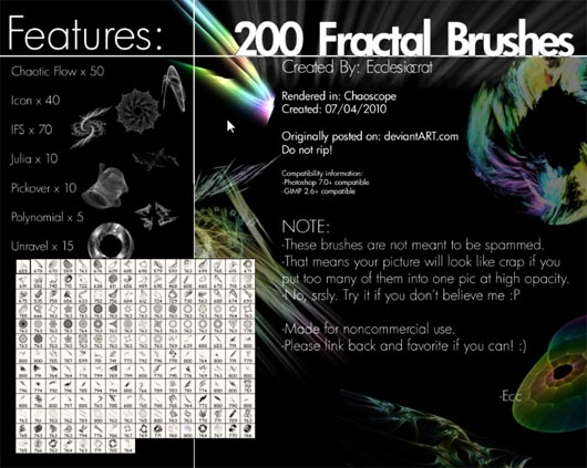200 Fractal Brushes Set, de Ecclesiocrat