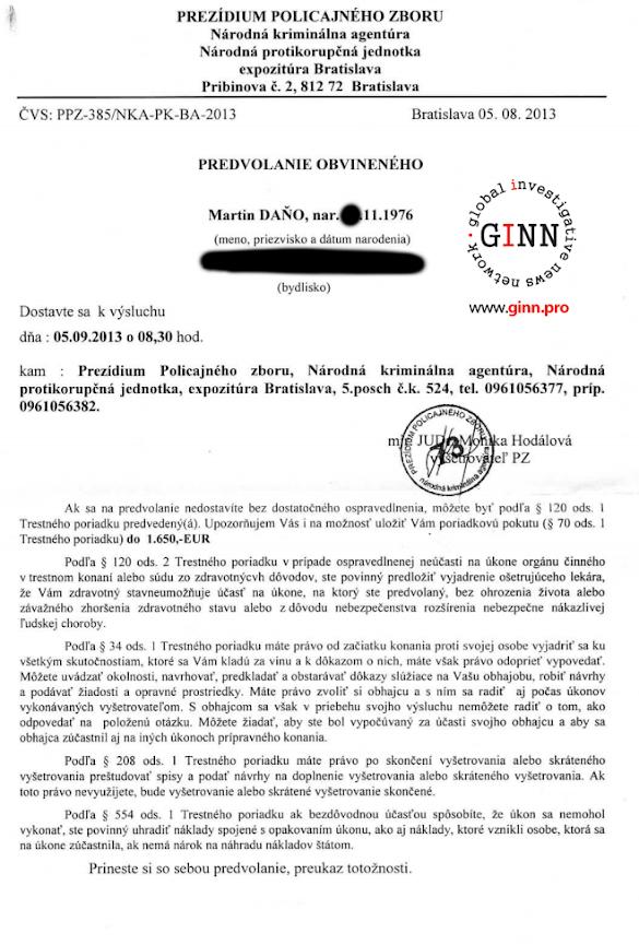 Predvolanie obvineneho NAKA, Martin Dano, Jan Pociatek, strana 1/4